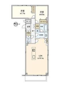 【間取図】LDKと居室が振分です。