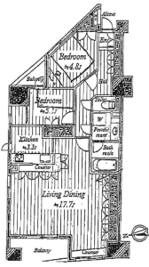 【間取図】約21帖のLDK♪明るく開放的なお部屋でとても静か、キッチンに窓があり風通しも抜群です!