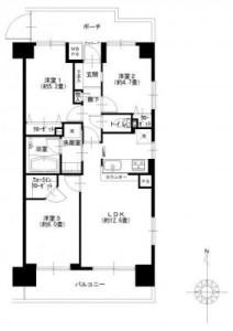 【間取図】 8階部分/南・東・北の3方角部屋です!