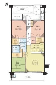 【間取図】LDに床暖房あり♪南東側奥行き約2m!ゆとりのあるバルコニーです!