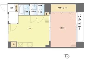 【間取図】家具付!日照良好のお部屋です♪内装リフォーム済み!