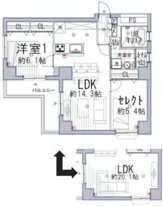 【間取図】使い勝手の良いL字型バルコニー!無料で1LDKと2LDKを選べます。