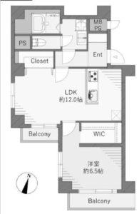 【204号室 間取図】南西向きの角部屋です♪